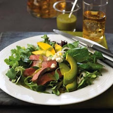 Pepper Steak Salad with Mango Avocado Jalapeno Vinaigrette