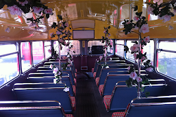 Interior of a wedding Routemaster Bus