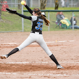 Pitching fire. by Dale Slater - Sports & Fitness Baseball ( field, teamwork, pitcher, sports, athletic )