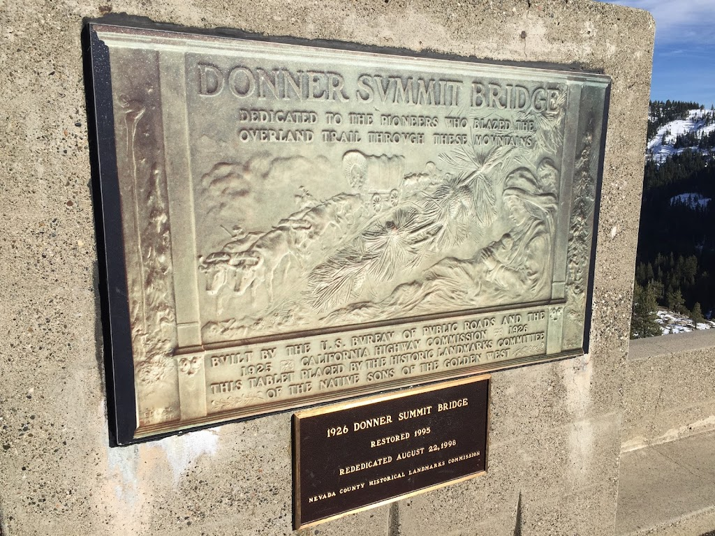 1926 DONNER SUMMIT BRIDGERESTORED 1995REDIDICATED AUGUST 22, 1996NEVADA COUNTY HISTORICAL LANDMARK COMMISSION The original plaque is located at the Donner Summit Historical Society.