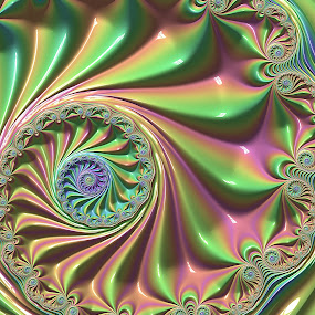 Pastel fractal wheel by Pam Blackstone - Illustration Abstract & Patterns ( pastel, loops, wheel, green, curls, pink, lines, spiral, fractal, curves )