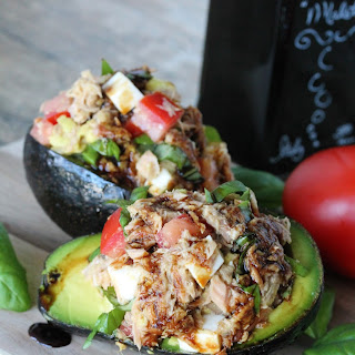 Caprese Tuna Salad Stuffed Avocados