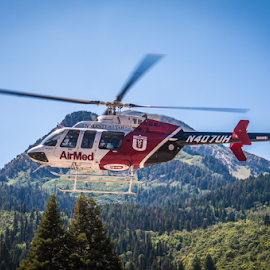 University of Utah AirMed at work by Myra Brizendine Wilson - Transportation Helicopters ( airmed, helicopter, emergency, salt lake city, emergency equipment,  )