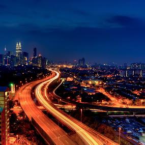 Kuala Lumpur Night Scene by Zack Zaidi - City,  Street & Park  Skylines ( highway, street, nightscene, cityscape, kuala lumpur )