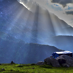 Triund, Dharamshala, India by Akash Deep - Landscapes Travel ( cloudy morning, himalays, mountains, himachal pradesh, sunrays, india, dauladhar ranges, morning at mountains, rays, triyund )