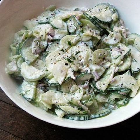 Sour Cream Cucumber Salad with Mustard Seeds