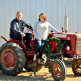 Country Tractor Christmas by Christy Stanford - People Couples ( farm, woman, christmas, wreath, tractor, man, country )