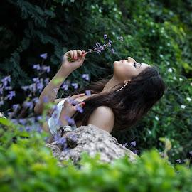 Flower Girl by Shashi Patel - People Fashion ( water, hill, shashiclicks, model, fashion, nature, grass, outdoor, shashi patel, flower )