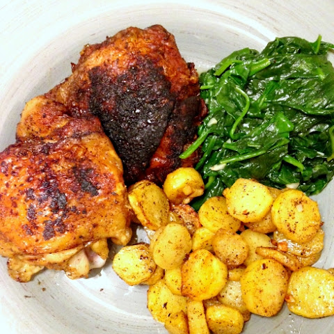 Spicy Chicken Thighs and Schmaltz Potatoes