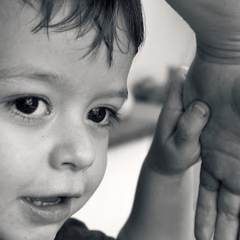 *** by Jeny Mogilevsky - Babies & Children Toddlers ( hands, black and white, smile, boy, portrait )