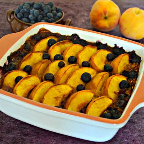 Peach & Blueberry Baked Oatmeal