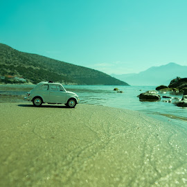 A day at the beach by Grigoris Koulouriotis - Artistic Objects Toys ( car, sand, toy, sea, sunshine, beach, sunlight, coast, fiat500 )