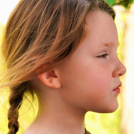 Profile in Pigtails by Cheryl Korotky - Babies & Children Child Portraits