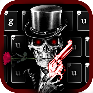 Download Red Rose Skull Gun Keyboard Theme For PC Windows and Mac