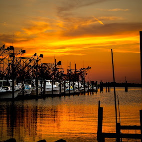 Blazing Vessels by Victoria Evans - Transportation Boats ( shrimping, trawler, louisiana, orange sunset, boat )