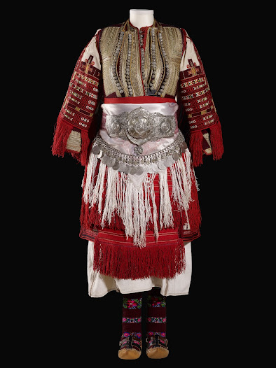 <b>Balkan textiles</b>  Unlike jewellery, textiles were made locally, varying distinctly from village to village, so that the wearer's origin was immediately recognisable.