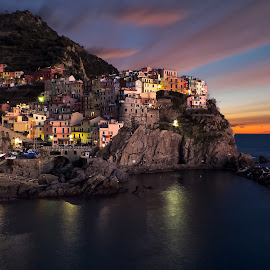 Manarola cinque Terre  by Alessandro Genero - Landscapes Travel ( water, clouds, sky, waterscape, sunsets, sea, tourism, town, cityscape, seascape, landscape, landscapes, italy,  )