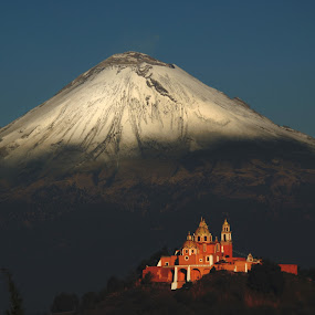 volcano and the Church by Alfredo Garciaferro Macchia - Landscapes Mountains & Hills ( volcano, church, popocatepetl, snowy volcano )