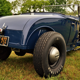 Blue on the grass by Benito Flores Jr - Transportation Automobiles ( blue car, austin, texas, car show )