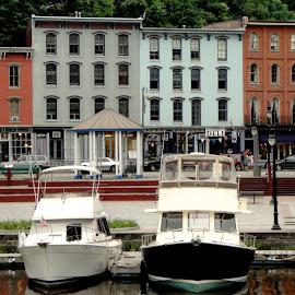Hudson River Boats by MaryKathryn Zuza - Transportation Boats ( boating, docked, boats, transportation, boardwalk, waterway, river )