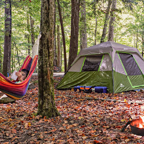 Camping by Karen Carter Goforth - Uncategorized All Uncategorized ( camping, fall, tent, relaxation, hammock, leaves,  )