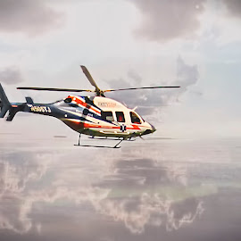 Emergency Helicopter by Sandra Hilton Wagner - Transportation Helicopters ( helicopter, flying, sky, transportation, propellers, medic )
