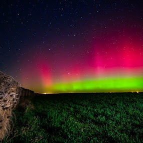 Hay Bales by Eric Anderson - Landscapes Starscapes ( field, sky, auroras, stars, northern lights, hay, night )