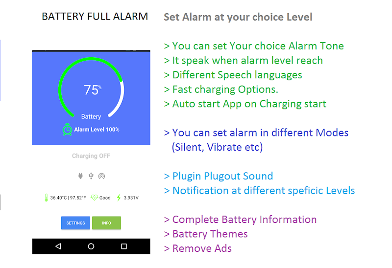 Battery Full Alarm and Battery Low Alarm - No Ads Screenshot 0