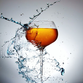 One glass, one splash by Peter Salmon - Artistic Objects Glass ( colour, water, splash, pour, glass )