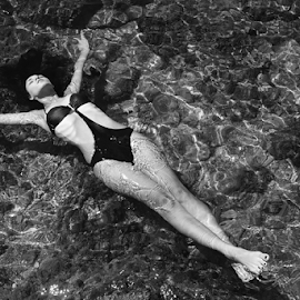 The Sea Dream by Alex Hamel - People Fashion ( fashion, girl, black and white, swimsuit, sea, beauty, classic,  )