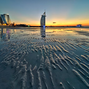 Blazing Sunset by Andrew Madali - Landscapes Beaches ( jumeirah beach hotel, sunset, burj al arab, beach )