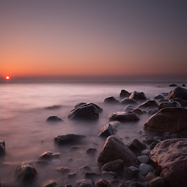 Sunset and stones by Kim Borup Matzen - Landscapes Waterscapes ( sunset, long exposure, beach, blur, denmark )