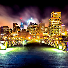 Lights of the City by Curt Lerner - Buildings & Architecture Office Buildings & Hotels ( night photography, embarcadero, reflections, san francisco, nightscape )