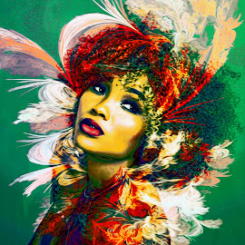 1960 by Kathleen Devai - Digital Art People ( colour, vintage, headpiece, woman, hair )