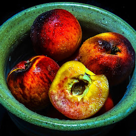 Peach Bowl by Dave Walters - Food & Drink Plated Food ( mystic, fruit, colors, still life, artistic, peaches, sony hx400v, mood setting )