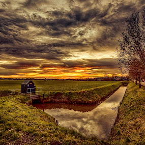 early morning traffic by Egon Zitter - City,  Street & Park  Vistas ( clouds, water, reflection, sky, meadow, sunrise, canal )