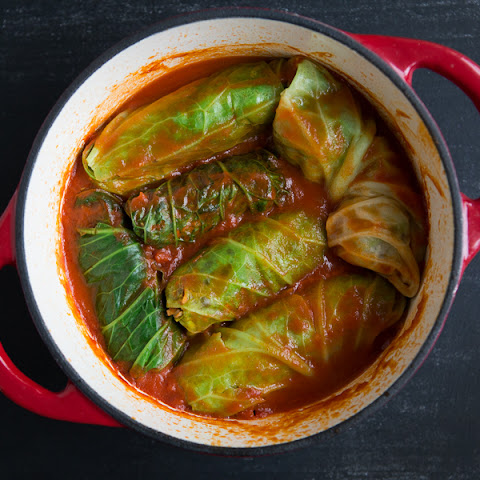 Vegan Cabbage Rolls with Tomato Sauce