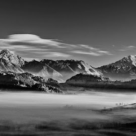 Thomas at Dawn by Janez Podnar - Black & White Landscapes