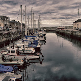 Lossiemouth Harbour by David Drage - City,  Street & Park  Historic Districts ( sky, harbor, harbour, boats, cloud, sea, grey, yachts )