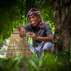 Old Fisherman by Adrian Choo - People Portraits of Men ( old, nature, men, fisherman, portrait, bamboo trap )