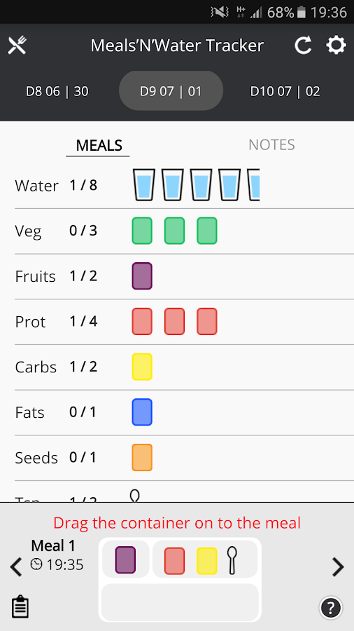 Meals'N'Water Tracker Screenshot 1