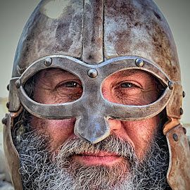 Warrior by Marco Bertamé - People Musicians & Entertainers ( warrior, metal, beard, helmet, medieval, portrait )