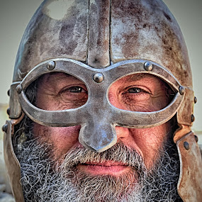 Warrior by Marco Bertamé - People Musicians & Entertainers ( warrior, metal, beard, helmet, medieval, portrait,  )