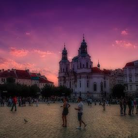 Sunset - Prague, CZECH by Krzysiek Roznowski - City,  Street & Park  Historic Districts ( colors, market square, sunset, czech, prague )
