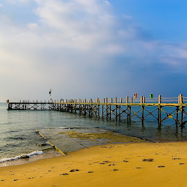 Jetty at Sunrise Egypt by Amr Younis - Landscapes Waterscapes ( beach, sunrise, egypt )
