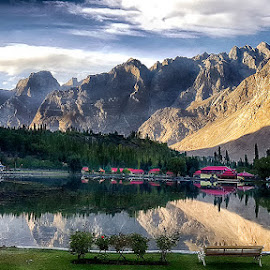 Shangrila  by Abdul Rehman - Instagram & Mobile Android ( clouds, pakistan, mountains, sakrdu, nature, shangrila, lake, resort, kahura, baltistan )