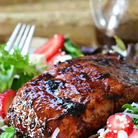 Strawberry Balsamic Glazed Baked Salmon Salad