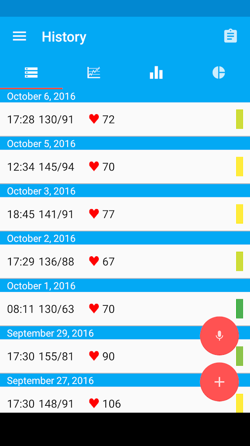 Blood Pressure Diary Screenshot 0