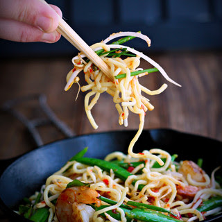 Orange Sesame Shrimp and Noodle Stir-Fry with Thai Basil