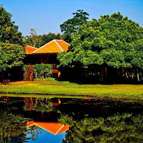 Holiday Bungalow by Ryan Dominguez - Backgrounds Holiday ( holiday, reflection, lake house, travel thailand, bungalow,  )